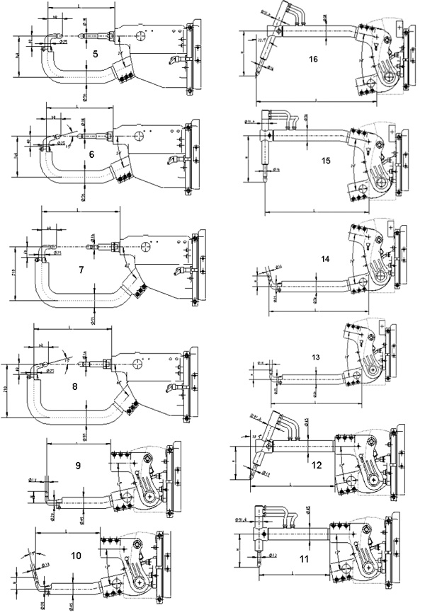 Heavy duty electrode arms drawing